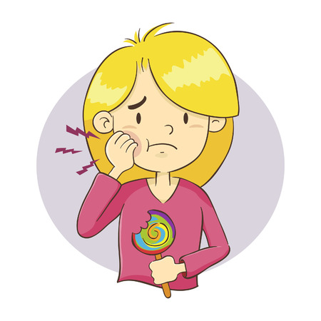 Vector illustration of a young girl having a toothache after eating candy