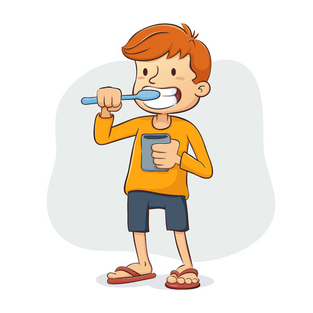 Vector illustratie van een jonge jongen zijn tanden poetsen
