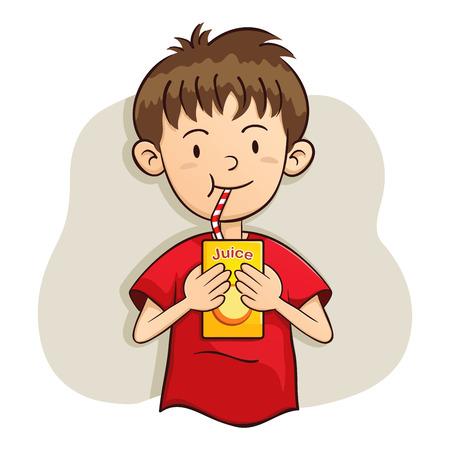 vector illustration of a boy drinking juice