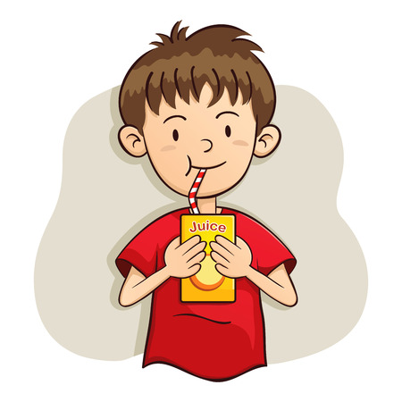 vector illustration of a boy drinking juice