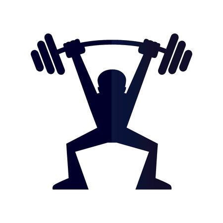 levantar peso: Ilustración vectorial de una silueta de peso de elevación del hombre