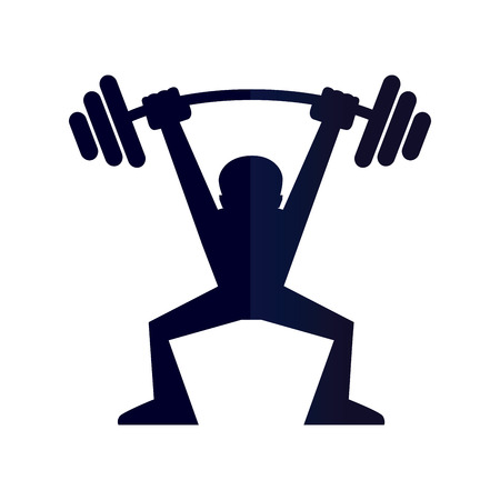 weight: Vector illustration of a man lifting weight silhouette