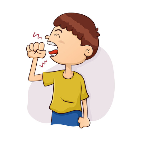 Vector Illustration of a Boy Coughing Ilustracja