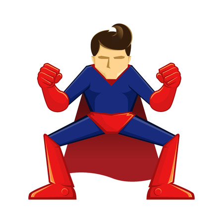 supper: Vector illustration of a supper hero in crouching pose