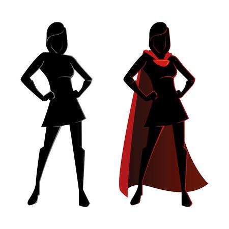 silueta: Ilustración vectorial de una silueta femenina superhéroe Vectores
