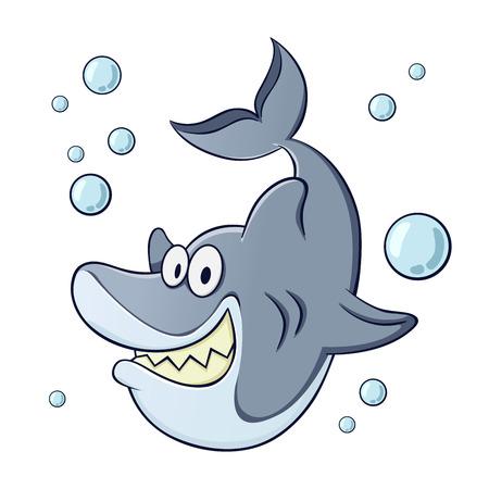 tiburon caricatura: Vector ilustraci�n de un personaje divertido de tibur�n