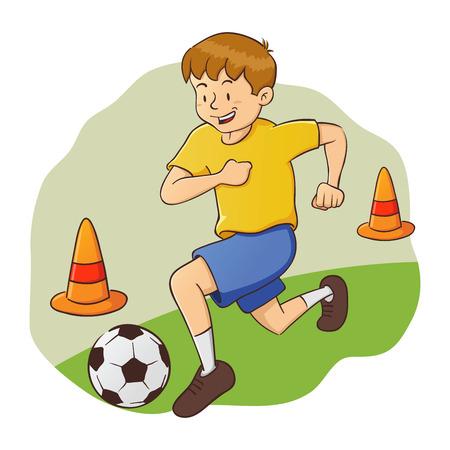 Vector illustration of little boy practice soccer