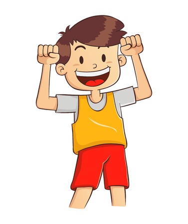 Vector illustration of a boy with strong and healthy body