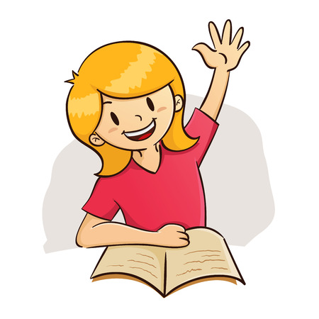 Vector illustration of a girl raising her hand while studying