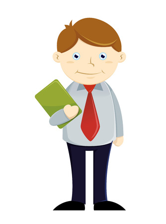 the paperwork: Vector illustration of a businessman holding paperwork