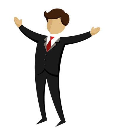 arms wide: Vector l'illustrazione di un uomo d'affari apre le braccia