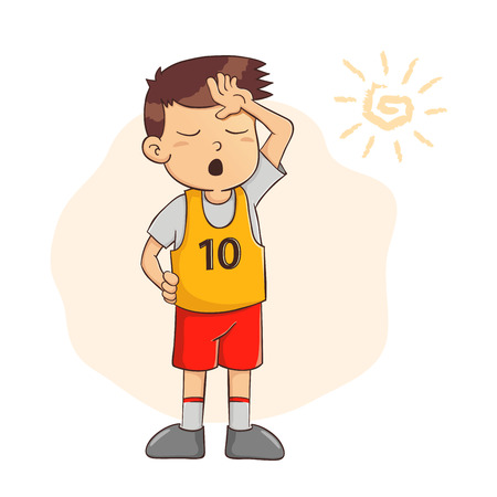 Vector illustration of a young boy feeling tired