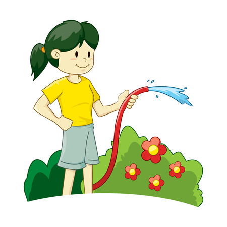 gardening hoses: Vector illustration of a girl watering the plant Illustration
