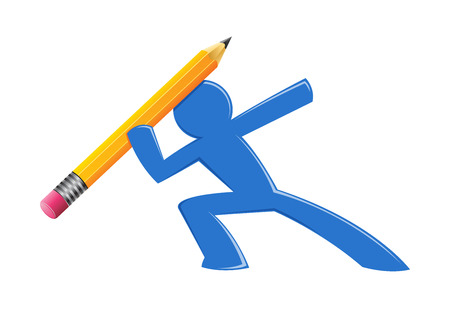 atma: Illustration of Blue Stick Figure Throwing a Pencil