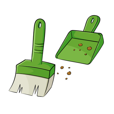 dustpan: Vector illustration of a small broom and a dustpan