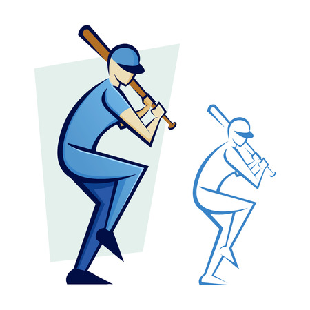 hitter: Vector illustration of a baseball player about to hit the ball
