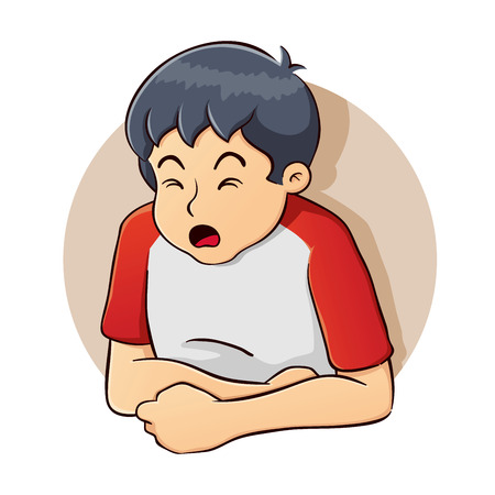 miserable: Vector illustration of a boy having a stomach problem