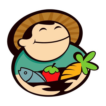 produce: Vector illustration of a farmer holding basket full of produce