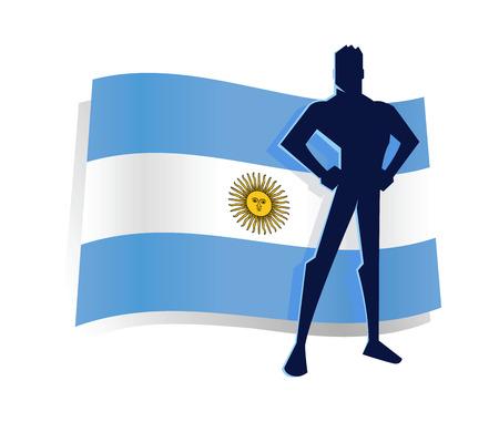 soldat silhouette: Silhouette de l'homme debout devant le drapeau Argentine Illustration