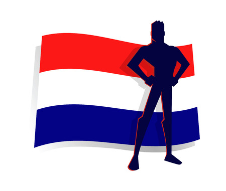Silhouette of Man Standing in Front of Netherlands Flag