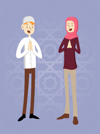 moslem: Moslem man and women couple in vector illustration