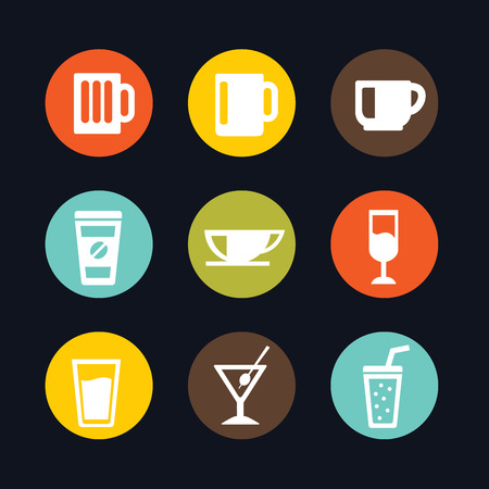 Set of Beverage glass and cups flat icon vector illustration