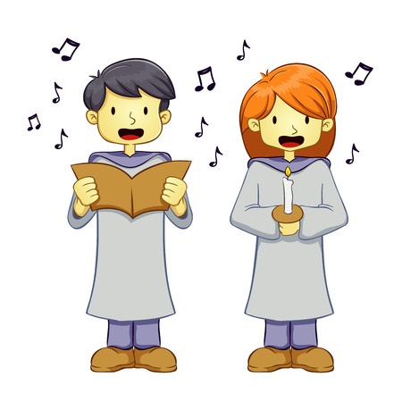 girl singing: Two Young boy and girl singing a song in a choir Illustration