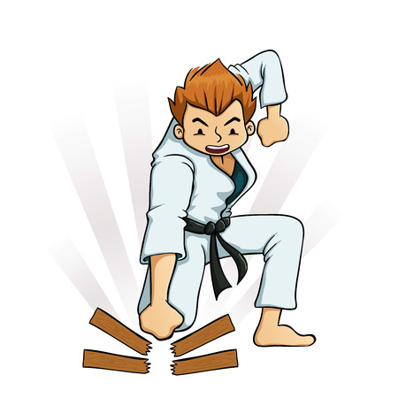 Young boy breaking boards in martial arts practice Vettoriali