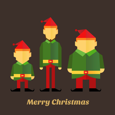christmas elf: Flat icon of three christmas elf in various sizes, vector illustration Illustration