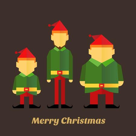 christmas three: Flat icon of three christmas elf in various sizes, vector illustration Illustration