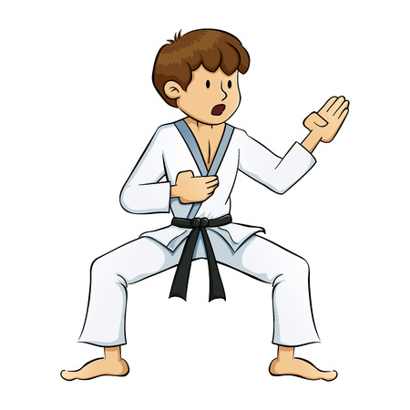 children only: Young boy practice martial arts vector illustration