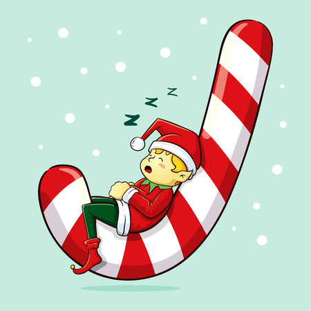candy cane background: Christmas elf sleeping on huge candy cane
