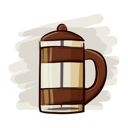 disegno a mano: Disegno a mano di un bicchiere di caff� stantuffo