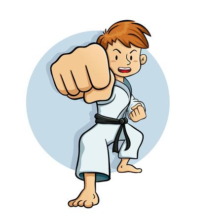 Jonge jongen praktijk vechtsporten vector illustratie
