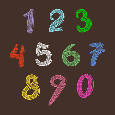 kiddies: Set of colorful hand drawing numbers, vector illustration Illustration