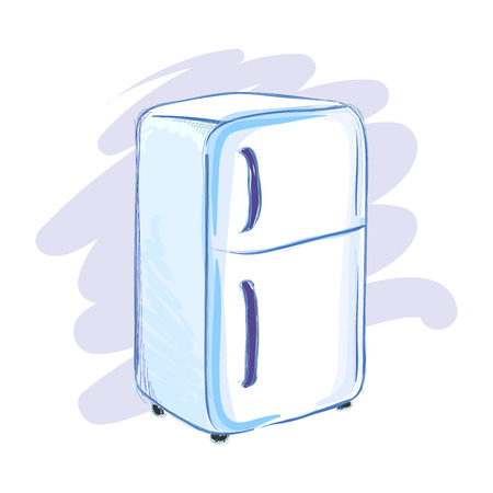 chiller: Sketch hand drawing of refrigerator, vector illustration