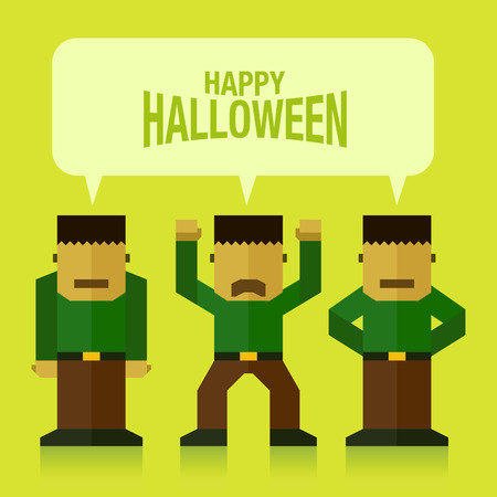 Frankenstein monster halloween flat icon vector illustration