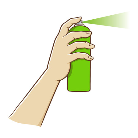 line drawings: Hand holding a spray paint in vector illustration Illustration