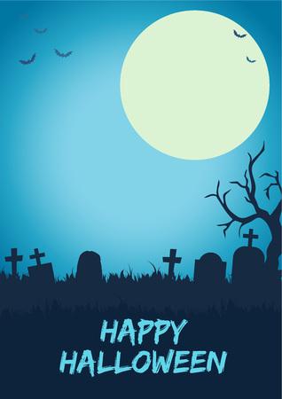halloween scary: Scary halloween cemetery vector illustration background