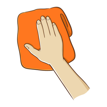 hand towel: Hand holding a towel in vector illustration
