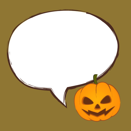 speech bubble vector: Halloween pumpkin with speech bubble vector illustration