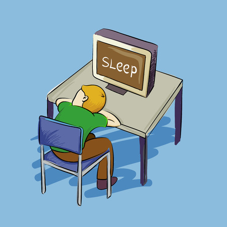 faint: Man falling asleep in front of a computer, vector illustration Illustration