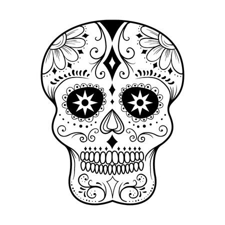calavera: Tradicional colorido del cráneo del azúcar ilustración de arte vectorial