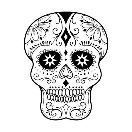 tete de mort: Traditionnel coloré crâne de sucre art vecteur illustration