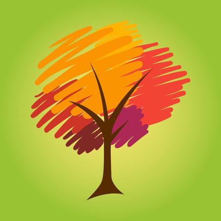 brush stroke: Abstract tree in brush stroke vector illustration