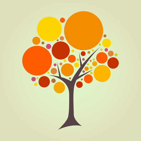 Abstract round circular tree in vector illustration
