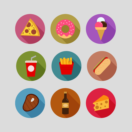 hot drinks: Collection of food flat icons vector illustration Illustration
