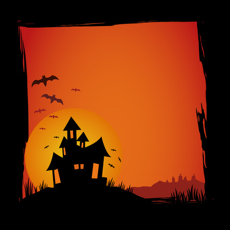 cartoon halloween: Halloween background with house and bats vector illustration