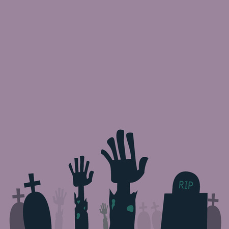 came: Zombie hands came out from grave, vector illustration