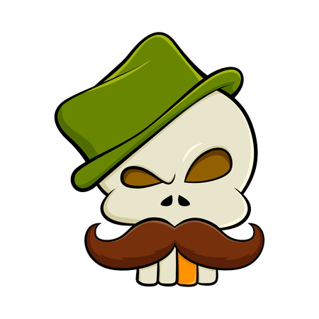 tooth cartoon: Skull with moustache wearing a green hat vector illustration
